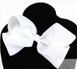 "Grosgrain 6"" White Hair Bow"