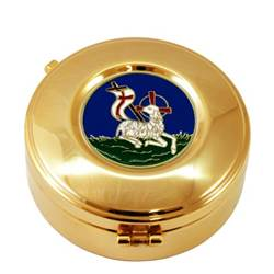 "HOST BOX LAMB OF PEACE WITH HINGE MADE IN ITALY Host Box with plaque ""Lamb of Peace""  Ø 8 cm. x 2,5 cm."