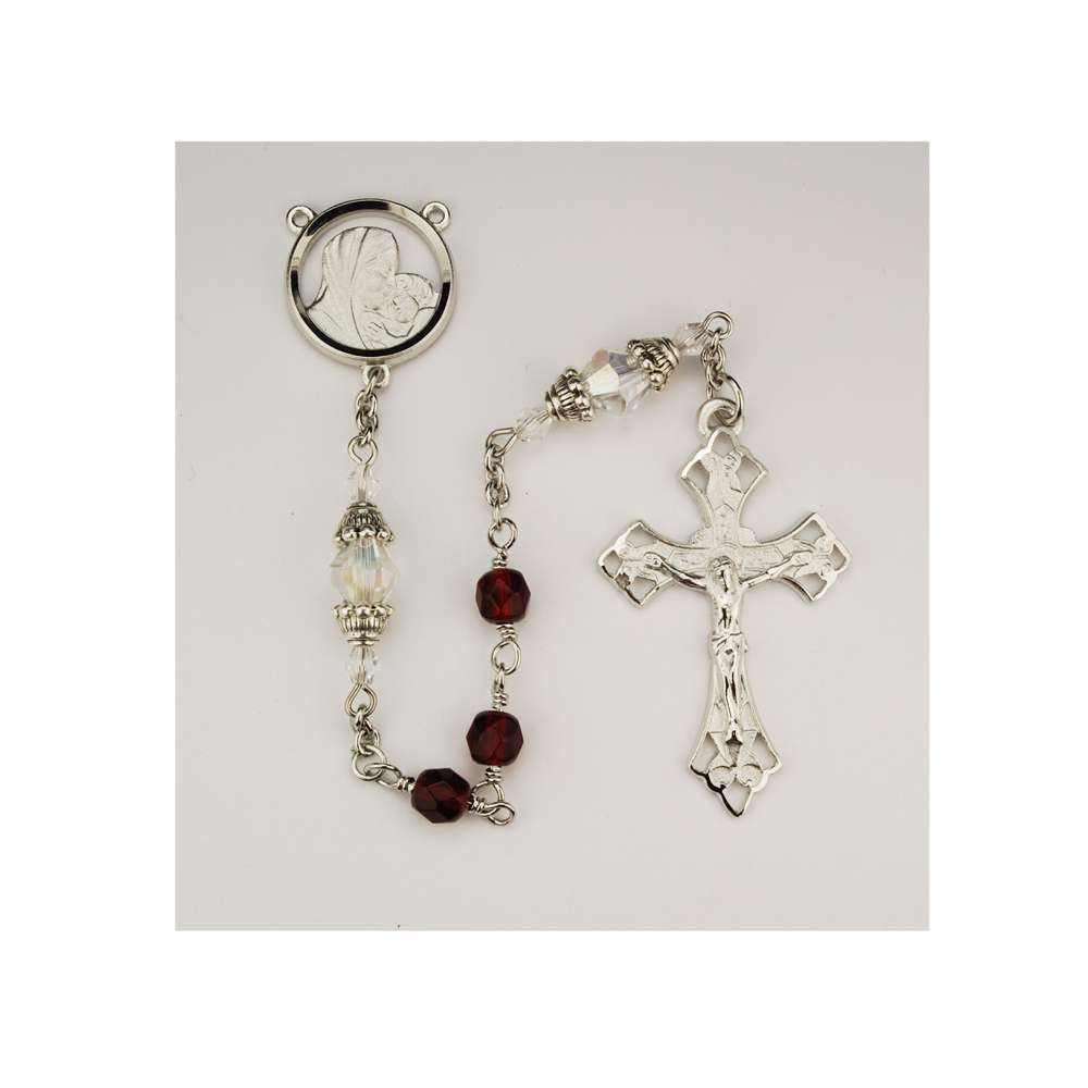 Red Cap Crystal Rosary