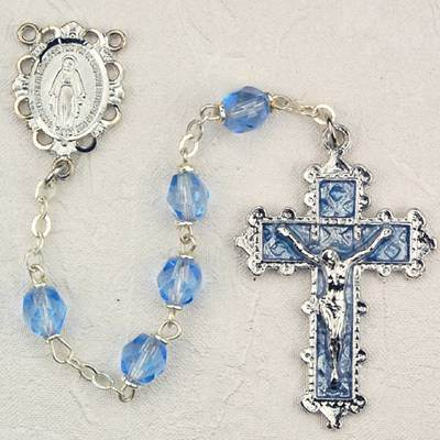 6MM Zircon Lt Blue Rosary