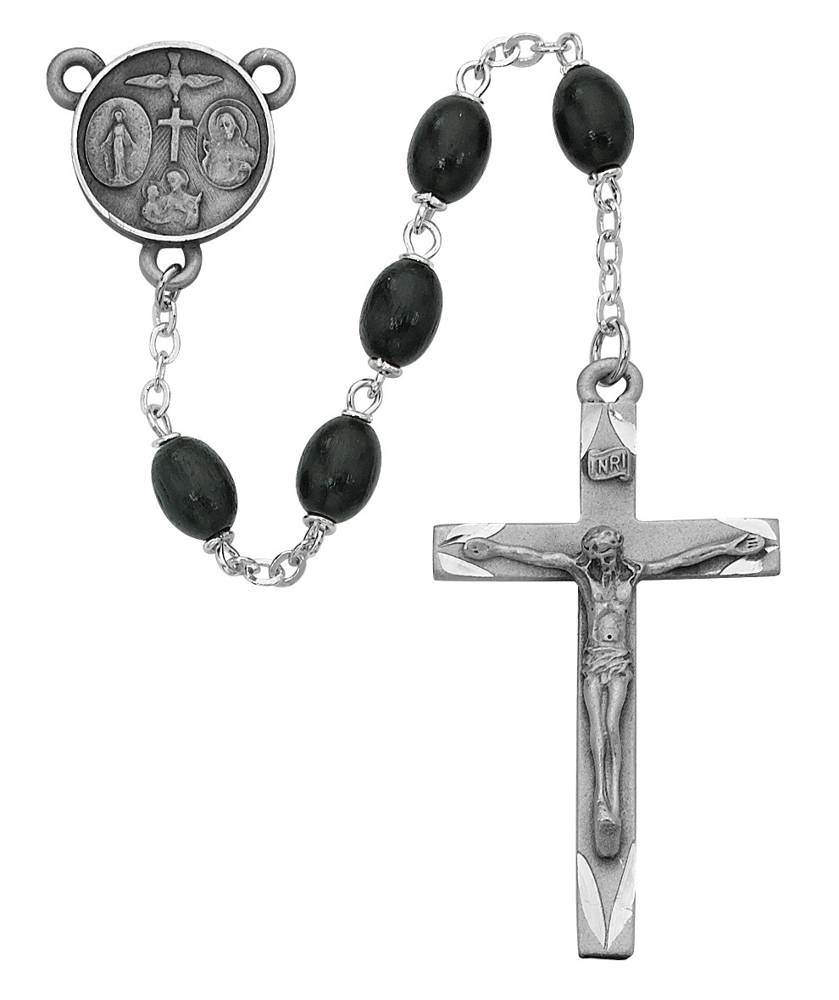 6X8mm Black Wood Oval Rosary