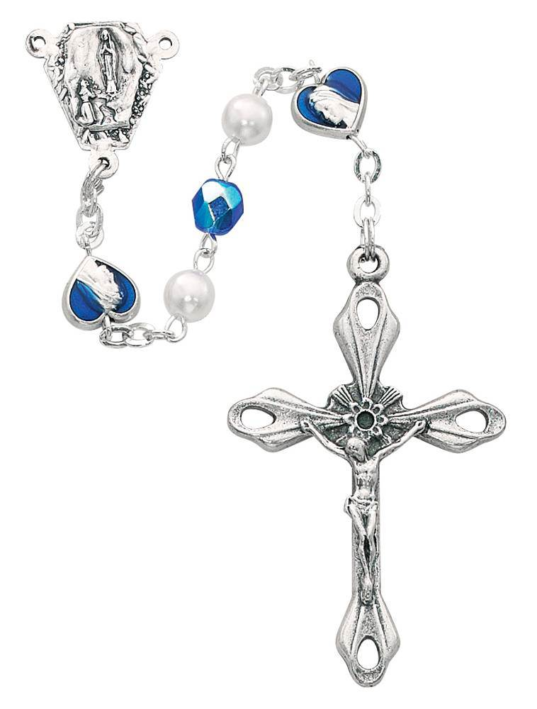 6mm Blue Pearl Rosary With Enamel Heart Miraculous/OL Lourdes Center