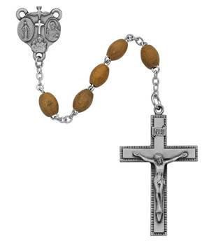6mm Olive Wood Oval Rosary