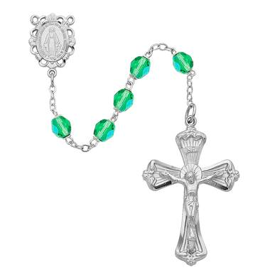 6mm Peridot Rosary W/Rhodium Crucifix And Center Gift Boxed