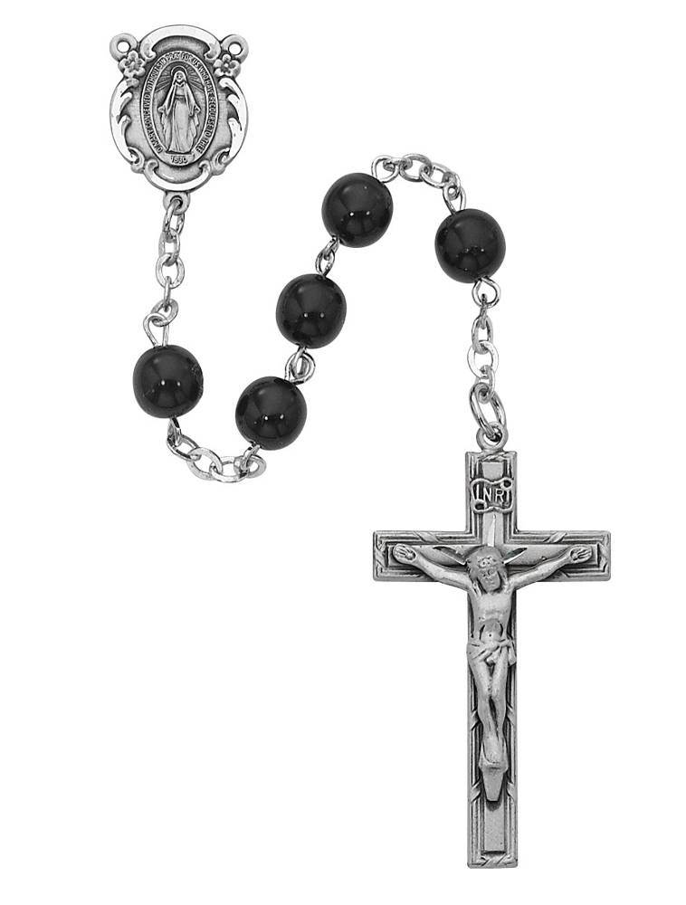 6mm Sterling Silver Black Glass Rosary