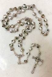 6mm White Cloisonne Rosary with Chalice Centerpiece