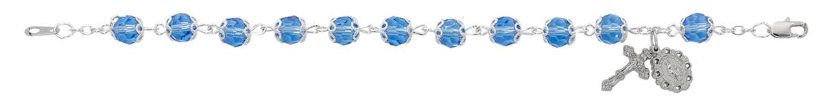 "7 1/2"" Capped Blue Crystal Rosary Bracelet"