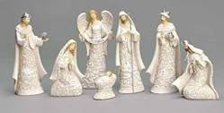 "7 1/2"" Nativity Set nativity set, indoor set, table top nativity set, resin dolomite nativity, christmas gift, wedding gift, home decor, 7 piece set, 32993"