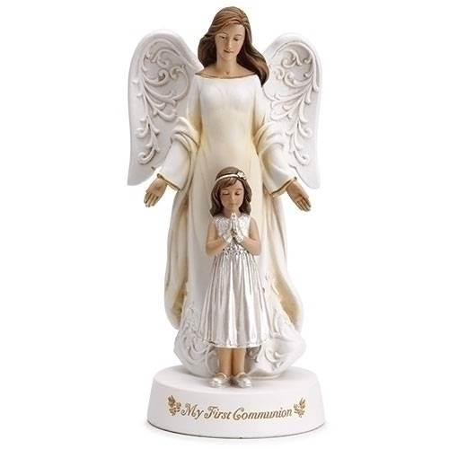 "7.75"" My First Communion Angel and Girl Figurine"