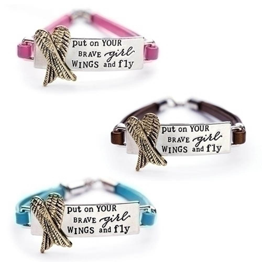 "7"" Leather Brave Girl Wings Bracelet"