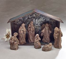 7 Piece Brown Carved Nativity Set with Creche