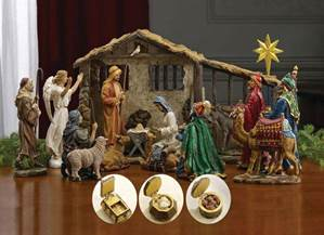"7"" Scale Full 19pc 'First Christmas Gifts' Nativity Set"