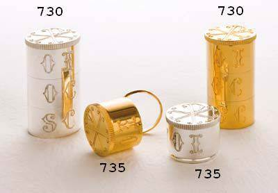 735 Ring Oil Stock molina, oil stock, ring oil stock, sacred oil, church goods, church supplies, oil vessal, sacred oil, 735, gold plated, silver plated,