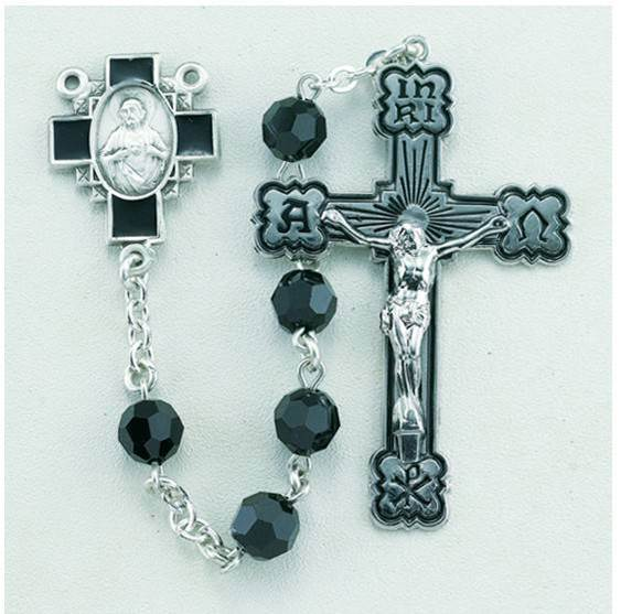 7mm Jet Black Swarovski Crystal Sterling Silver Rosary