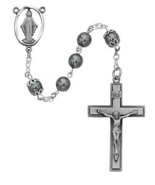 7mm Imitation Hematite Rosary Pewter Crucifix And Center Gift Boxed