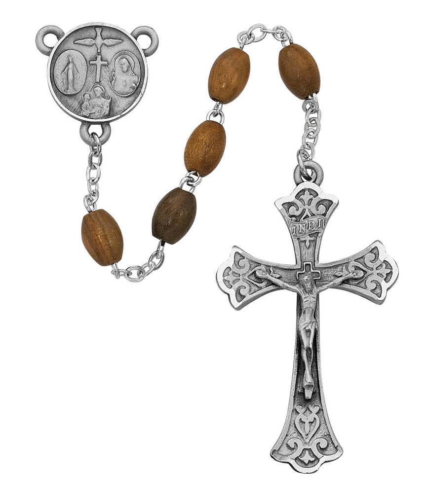 7mm Olive Wood Oval Rosary
