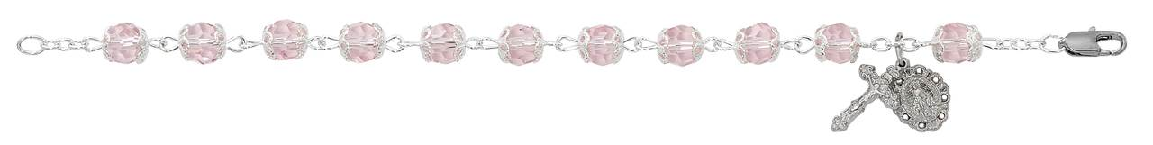 "8 1/2"" Capped Pink Crystal Rosary Bracelet"