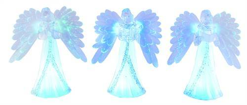 "8.5"" Asst Lighted Feather Wing Angel Figurines"