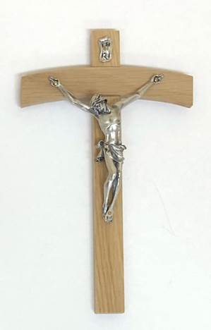 "8"" Arched Wood Wall Cross with Silver Corpus"