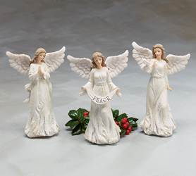 "8"" Assorted White Angel Figurines, Sold Each"