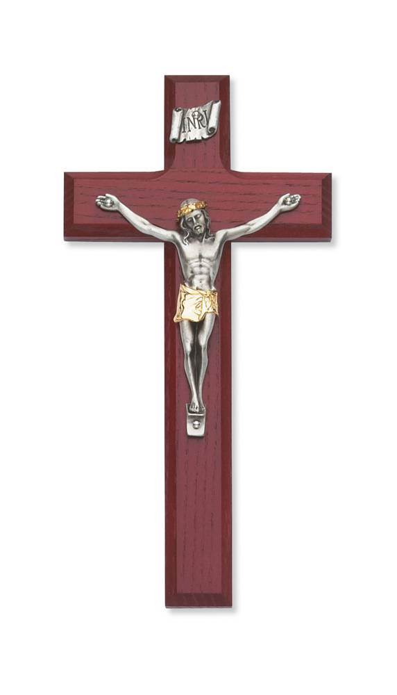"8"" Cherry Wood Wall Crucifix"