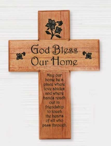 "8"" God Bless Our Home Wood Wall Cross"