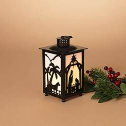 8 Inch Lighted Nativity Lantern