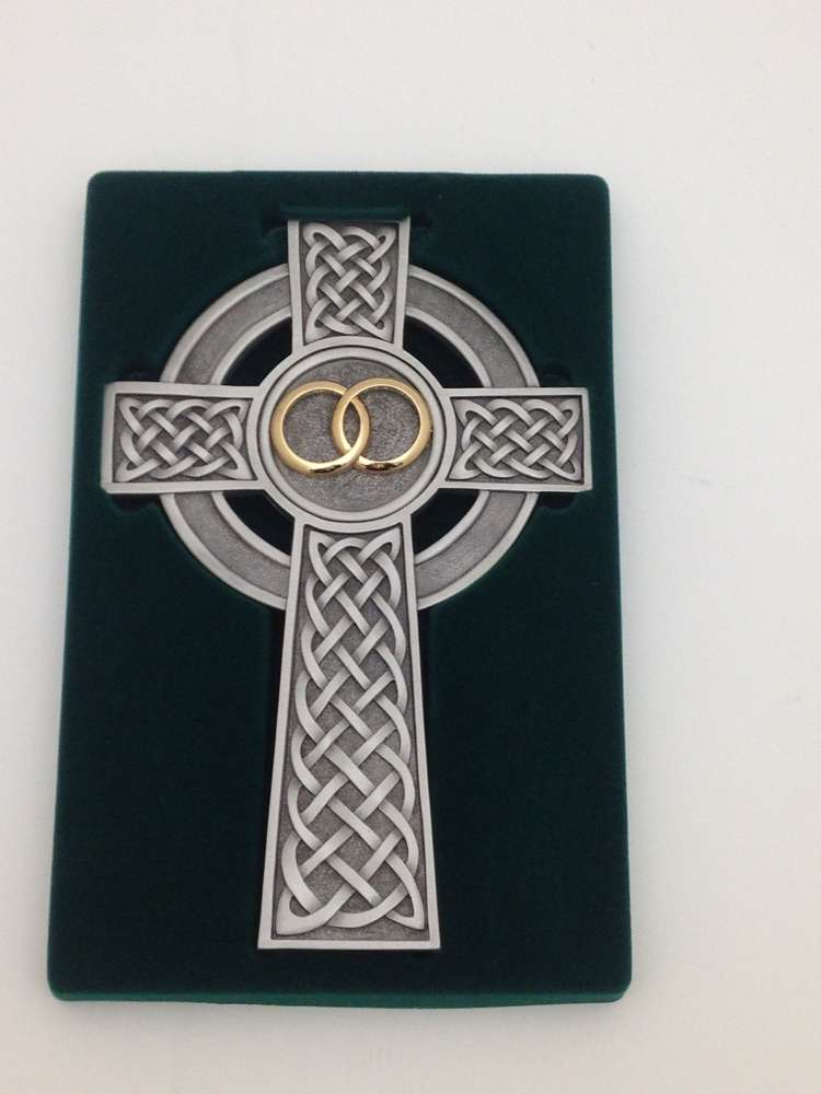 "8"" Knotted Celtic Wedding Cross 8"" Pewter Knotted Celtic Wedding wall cross.  Features 2 gold rings and traditional Irish knots."