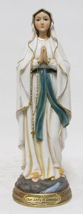 "8"" Our Lady of Lourdes Statue, Heavens Majesty"
