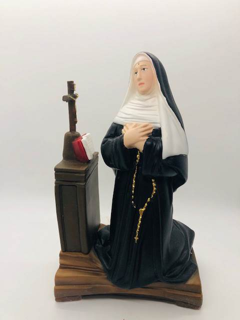 "8"" St. Rita Statue Plaster, Colored Made In Italy"