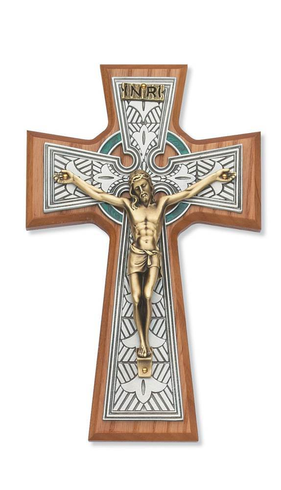 "8"" Walnut Celtic Crucifix"