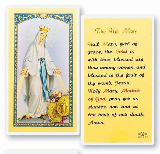 The Hail Mary Laminated Holy Card