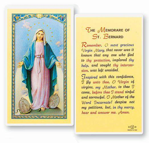 The Memorare of Saint Bernard  Clear, laminated Italian holy cards with gold accents. Features World Famous Fratelli-Bonella Artwork. 2.5'' X 4.5''