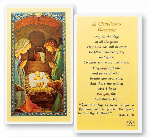 A Christmas Blessing  Clear, laminated Italian holy cards. Features World Famous Fratelli-Bonella Artwork. 2.5'' x 4.5''