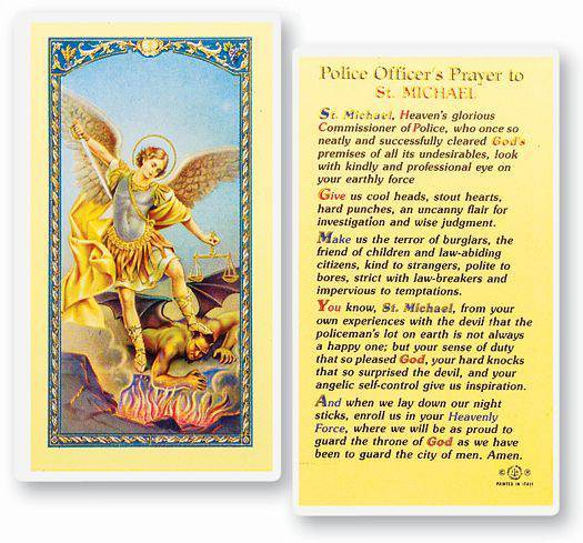 POLICEMAN'S PRAYER - SAINT MICHAEL HOLY CARD