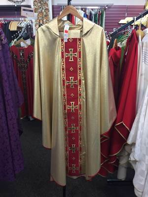 Solivari Gold Chasuble with Red Banding