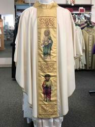 "852 Evangelist Chasuble ""Lana Oro Barre Style"" by Solivari 852, Evangelist Chasuble, Lana Oro Barre Style, Solivari, vestment"