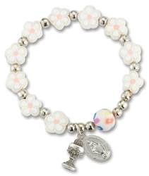 Floral White Bracelet With Chalice & Miraculous Charms