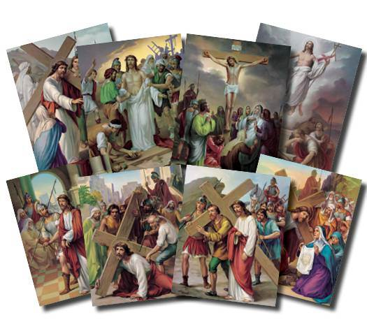 The Stations of the Cross 8''x10'' Poster Set  Vincentini's immortal works of art vividly depict Christ's Passion. Lithography in 7 colors in 14 pictures to a set