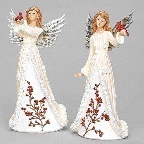 "9.5"" WINTER ANGEL WITH CARDINALS, TWO ASSORTED STYLES AVAILABLE, SOLD EACH"