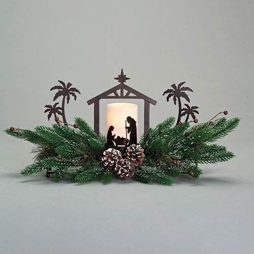 "9.75"" Holy Family LED Candle Evergreen Centerpiece"