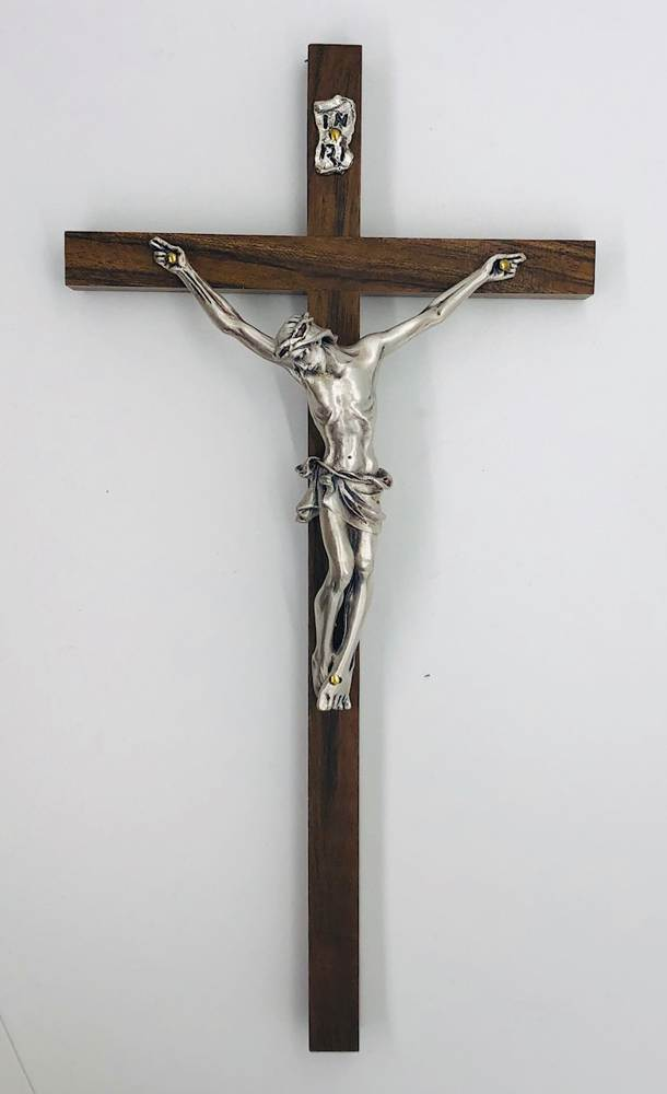 "9.75"" Italian Wood Wall Crucifix with Silver Corpus"