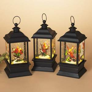 ?SOLD ASSORTED; THREE STYLES AVAILABLE??  9 inch tall, battery operated Lighted Acrylic Spinning Water Globe Lantern with Cardinal Scene