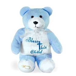 "9"" Blue Bless This Child Holy Bear"