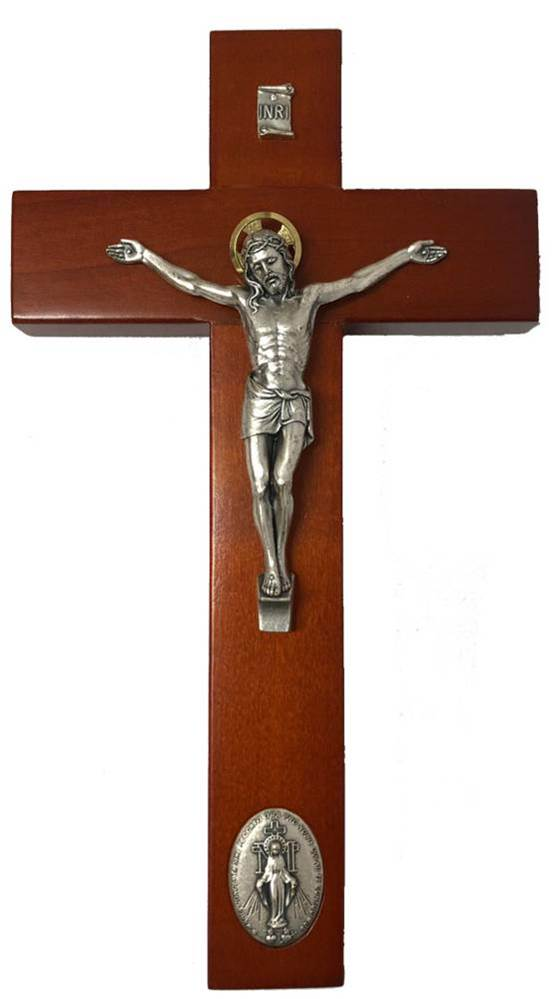 "9"" Crucifix With Inlaid Miraculous Our Lady of Grace Medal, Rosewood Finish Wood"