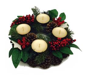 "9"" Decorated Evergreen Advent Wreath"