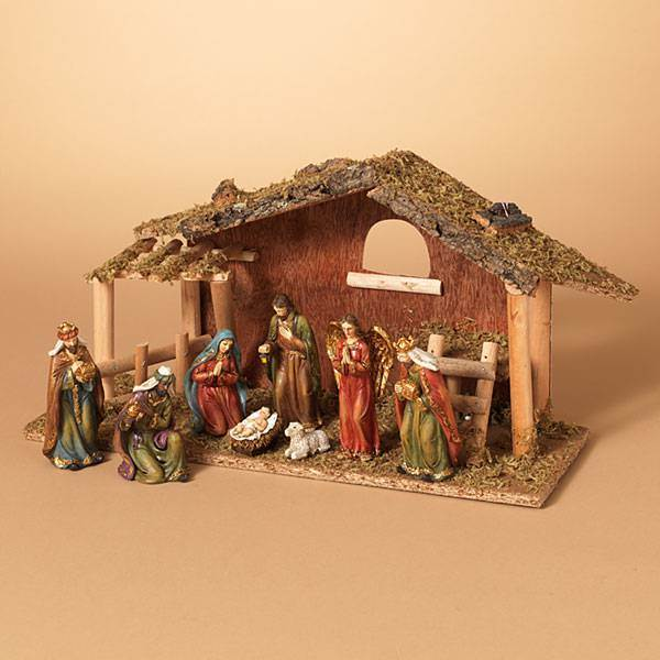 "9 Pc 15.25""L Resin Nativity Scene With Moss Stable"