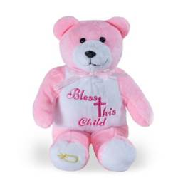 "9"" Pink Bless This Child Holy Bear"