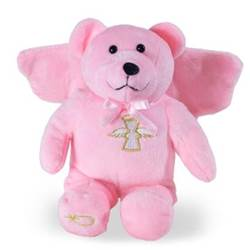 "9"" Pink Guardian Angel Holy Bear"
