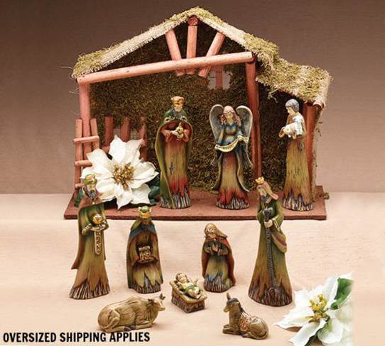 "9"" Woodland 10pc Nativity With Stable *WHILE SUPPLIES LAST*"